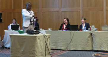 From left to right-Secretariate and Presenters-Dr Liapong Matsau, Francis Kombe, Nkateko Sowane, Prof. Theresa Rossouw, Dr Christa Van Zyl